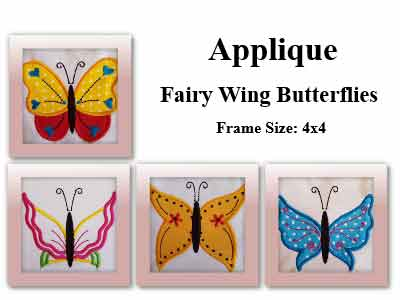 Applique Fairy Wing Butterflies Embroidery Machine Designs