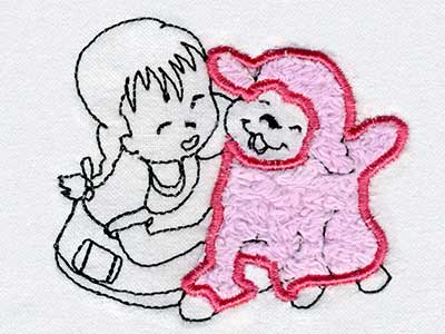 Appliqued Girl with Lamb Embroidery Machine Designs