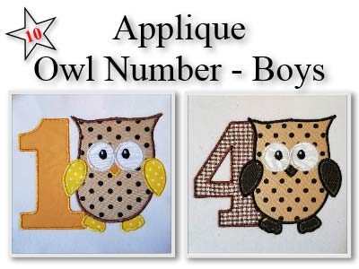 Applique Owl Boy Numbers Embroidery Machine Designs