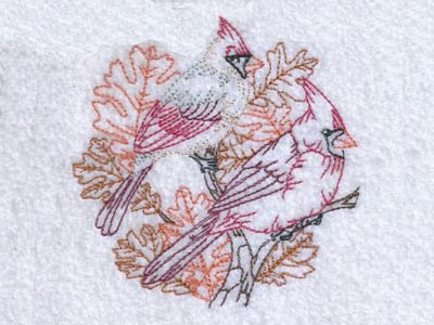 Autumn Birds and Leaves Embroidery Machine Designs