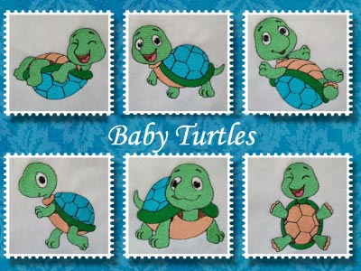 Baby Turtles Embroidery Machine Designs