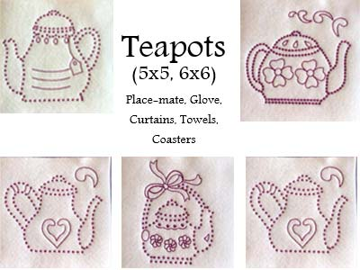 Candlewick Teapots Embroidery Machine Designs