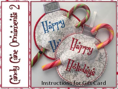 Candy Cane Ornaments 2 Embroidery Machine Designs