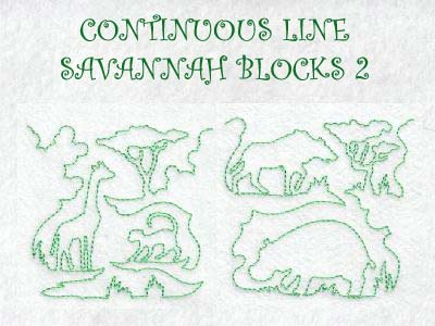 Continuous Line Savanna Blocks 2 Embroidery Machine Designs