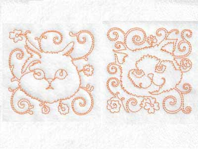 Continuous Line Cat Faces Embroidery Machine Designs