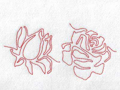 Continuous Line Roses Embroidery Machine Designs