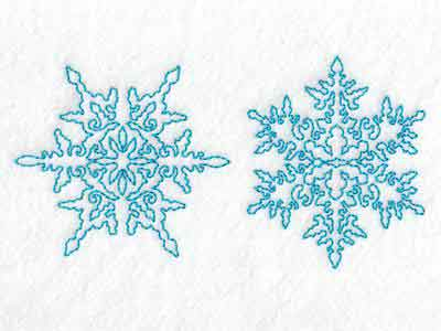 Continuous Line Snowflakes Embroidery Machine Designs