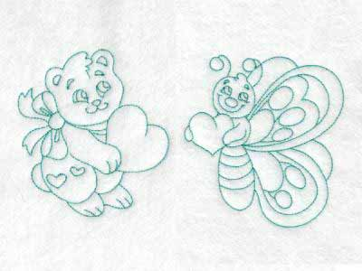 Cute Baby Animals With Hearts Embroidery Machine Designs