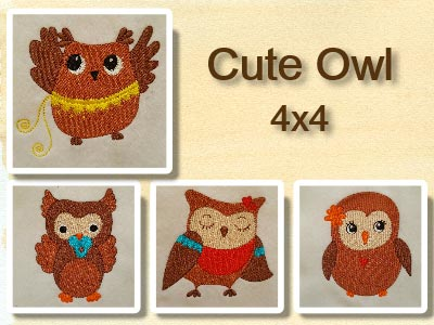 Cute Owls Embroidery Machine Designs