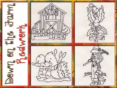 Down on the Farm Redwork Embroidery Machine Designs