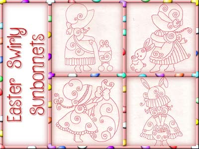 Easter Swirly Sunbonnets Embroidery Machine Designs