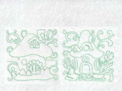 Continuous Line Fairy Houses Embroidery Machine Designs