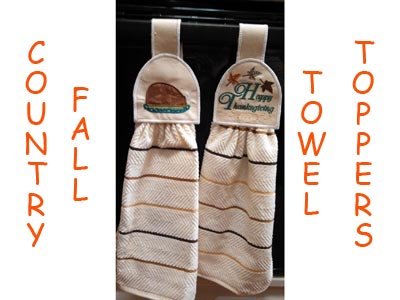 Fall Country Towel Toppers Embroidery Machine Designs