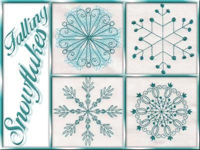 Falling Snowflakes Embroidery Machine Designs