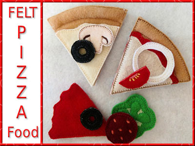 Felt Foodies Pizza Embroidery Machine Designs