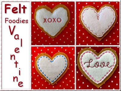 Felt Foodies Valentines Embroidery Machine Designs