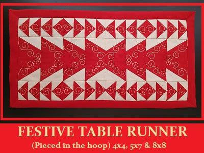 Festive Table Runner Embroidery Machine Designs