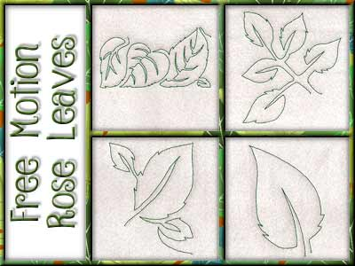 Free Motion Rose Leaves Embroidery Machine Designs