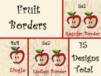 Fruit Borders Embroidery Machine Designs