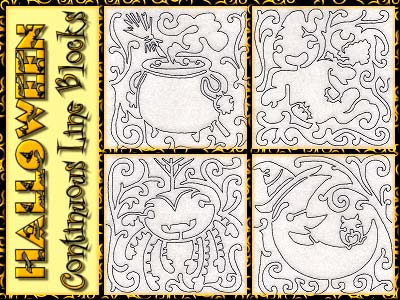 Halloween Continuous Line Blocks Embroidery Machine Designs