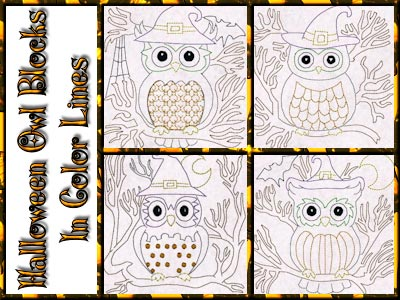 Halloween Owls Blocks Colorline Embroidery Machine Designs