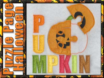Halloween Puzzle Page Embroidery Machine Designs
