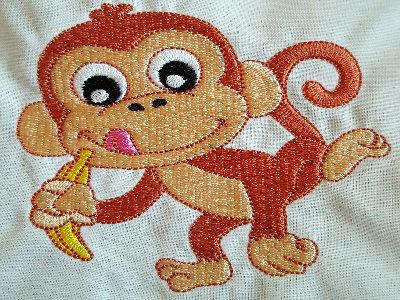 Happy Monkey Machine Embroidery Design