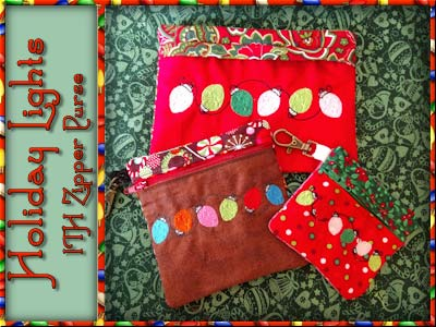 Holiday Lights In the Hoop Zipper Purse Embroidery Machine Designs