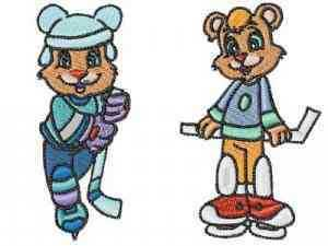 Hockey Bears Embroidery Machine Designs