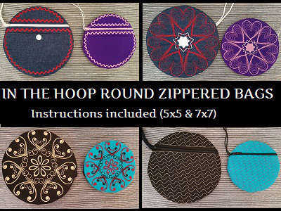 In The Hoop Round Bags Embroidery Machine Designs