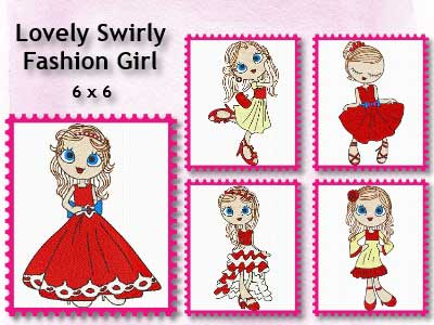 Lovely Swirly Fashion Girl Embroidery Machine Designs