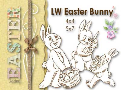 Line Work Easter Bunnies Embroidery Machine Designs