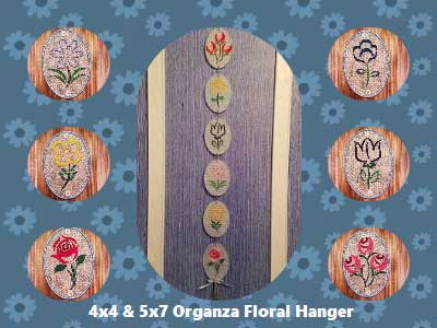 Organza Floral Hanger Embroidery Machine Designs