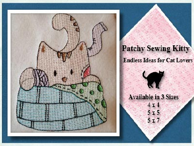 Patchy Sewing Kitty Embroidery Machine Designs