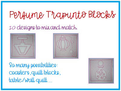 Perfume Trapunto Blocks Embroidery Machine Designs