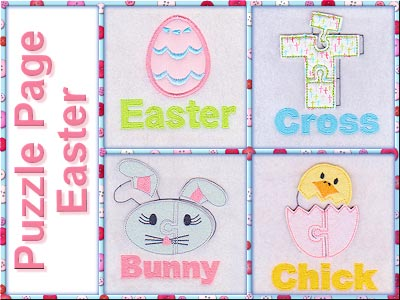 Puzzle Page Easter Embroidery Machine Designs