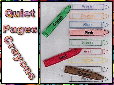 Quiet Pages Crayons Embroidery Machine Designs