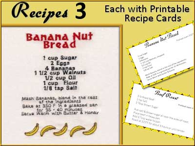 Recipe Towels 3 Embroidery Machine Designs