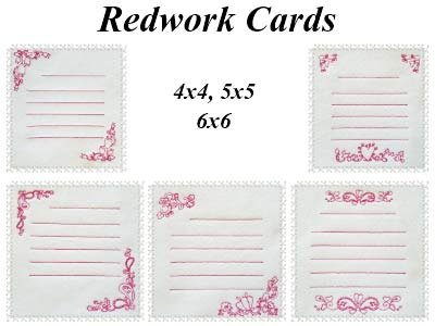 Redwork Cards Embroidery Machine Designs