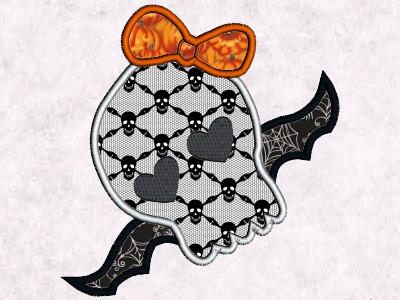 Skully Applique Embroidery Machine Designs