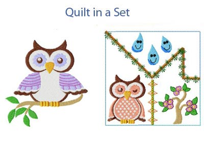 Spring Owls Embroidery Machine Designs