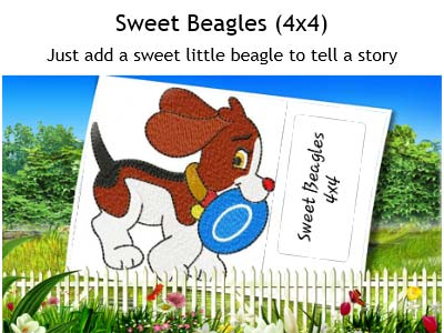 Sweet Little Beagles Embroidery Machine Designs