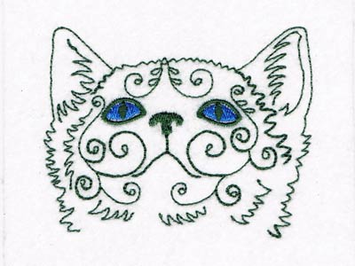Swirly Cat Faces Embroidery Machine Designs