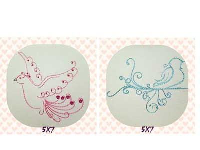 Swirly Doves Embroidery Machine Designs