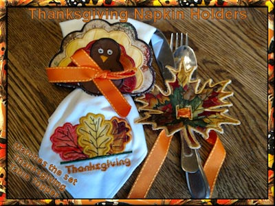 In The Hoop Free Standing Applique Thanksgiving Napkin Holders Embroidery Machine Designs
