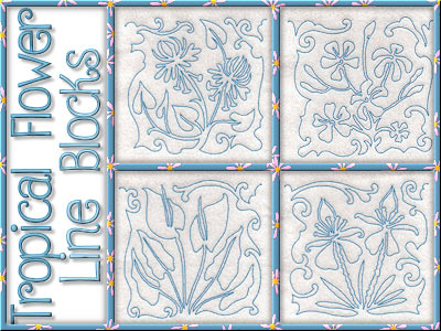 Tropical Flower Line Blocks Embroidery Machine Designs