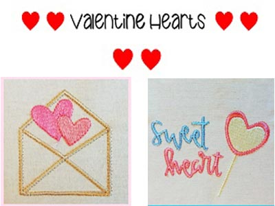 Valentine Hearts 2 Embroidery Machine Designs