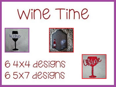 Wine Time Embroidery Machine Designs