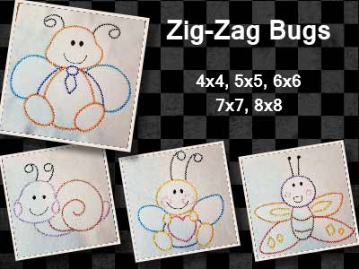 Zig Zag Bugs Embroidery Machine Designs