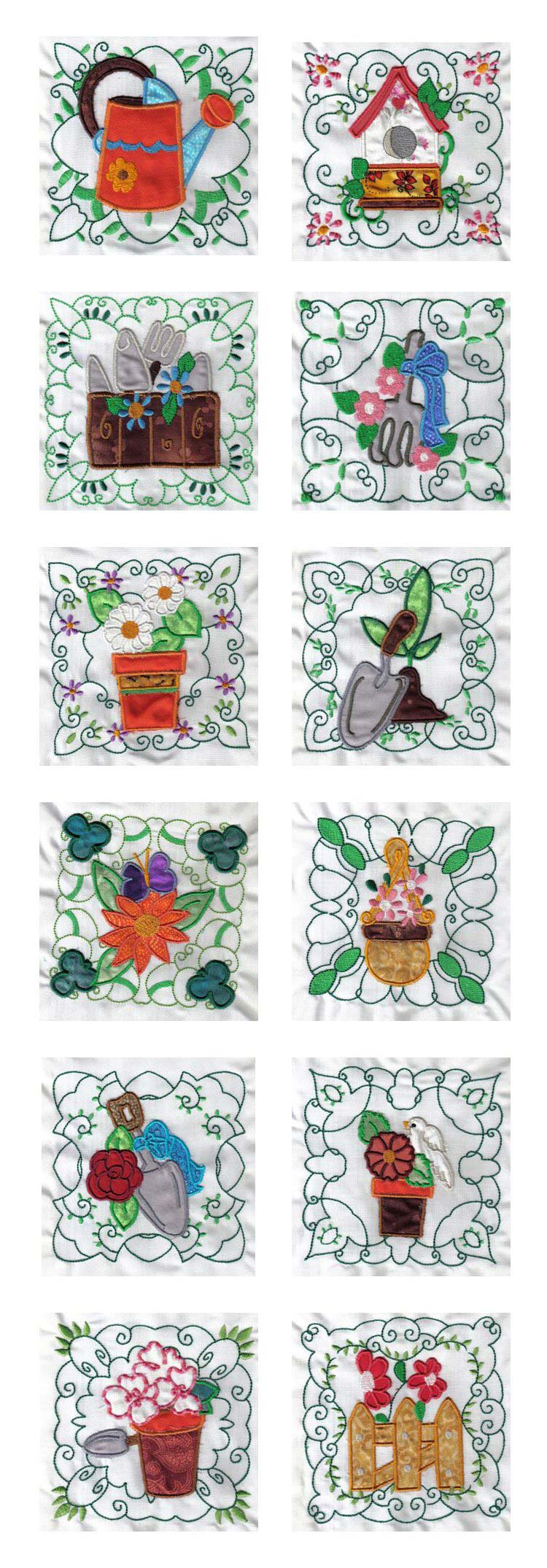 Embroidery machine designs applique garden quilt blocks set for Garden embroidery designs free